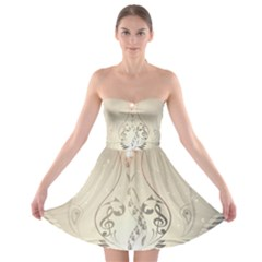 Music, Piano With Clef On Soft Background Strapless Bra Top Dress