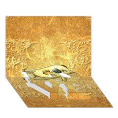 The All Seeing Eye With Eye Made Of Diamond LOVE Bottom 3D Greeting Card (7x5)