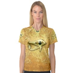 The All Seeing Eye With Eye Made Of Diamond Women s V-Neck Sport Mesh Tee