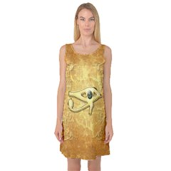 The All Seeing Eye With Eye Made Of Diamond Sleeveless Satin Nightdresses