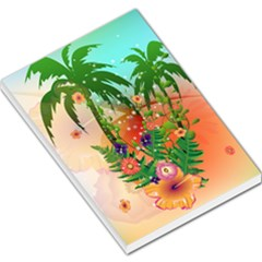 Tropical Design With Palm And Flowers Large Memo Pads