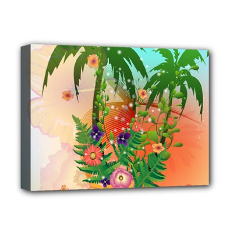 Tropical Design With Palm And Flowers Deluxe Canvas 16  X 12