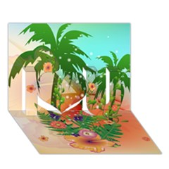 Tropical Design With Palm And Flowers I Love You 3D Greeting Card (7x5)