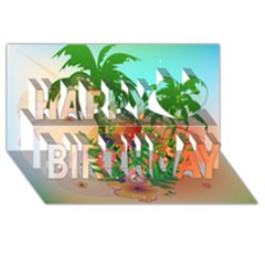Tropical Design With Palm And Flowers Happy Birthday 3d Greeting Card (8x4)