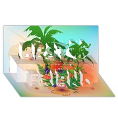 Tropical Design With Palm And Flowers Best Friends 3D Greeting Card (8x4)