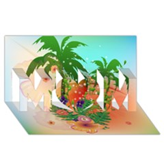 Tropical Design With Palm And Flowers MOM 3D Greeting Card (8x4)