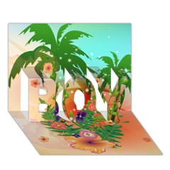 Tropical Design With Palm And Flowers BOY 3D Greeting Card (7x5)