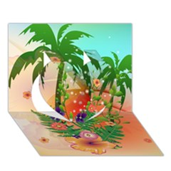 Tropical Design With Palm And Flowers Heart 3D Greeting Card (7x5)