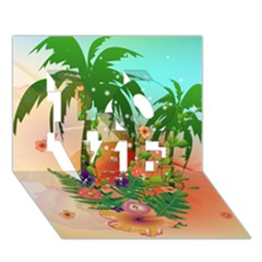 Tropical Design With Palm And Flowers Love 3d Greeting Card (7x5)
