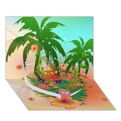 Tropical Design With Palm And Flowers Heart Bottom 3d Greeting Card (7x5)