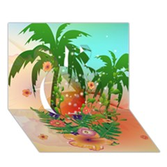 Tropical Design With Palm And Flowers Apple 3D Greeting Card (7x5)