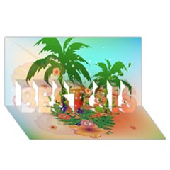 Tropical Design With Palm And Flowers Best Sis 3d Greeting Card (8x4)