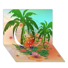 Tropical Design With Palm And Flowers Circle 3d Greeting Card (7x5)