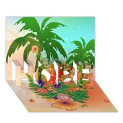 Tropical Design With Palm And Flowers HOPE 3D Greeting Card (7x5)