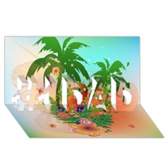 Tropical Design With Palm And Flowers #1 Dad 3d Greeting Card (8x4)