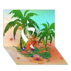 Tropical Design With Palm And Flowers Ribbon 3d Greeting Card (7x5)
