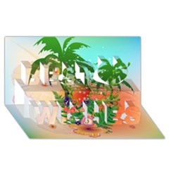 Tropical Design With Palm And Flowers Best Wish 3D Greeting Card (8x4)
