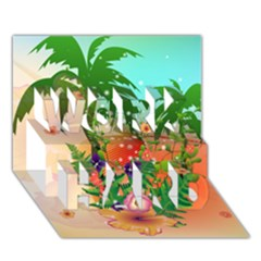 Tropical Design With Palm And Flowers WORK HARD 3D Greeting Card (7x5)