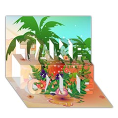 Tropical Design With Palm And Flowers Take Care 3d Greeting Card (7x5)