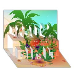 Tropical Design With Palm And Flowers You Did It 3D Greeting Card (7x5)