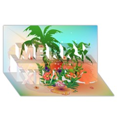 Tropical Design With Palm And Flowers Merry Xmas 3d Greeting Card (8x4)