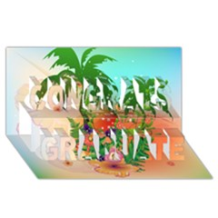 Tropical Design With Palm And Flowers Congrats Graduate 3D Greeting Card (8x4)