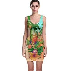 Tropical Design With Palm And Flowers Bodycon Dresses