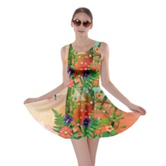 Tropical Design With Palm And Flowers Skater Dresses