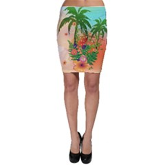Tropical Design With Palm And Flowers Bodycon Skirts