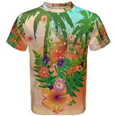 Tropical Design With Palm And Flowers Men s Cotton Tees