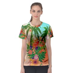 Tropical Design With Palm And Flowers Women s Sport Mesh Tees
