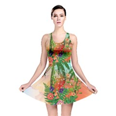 Tropical Design With Palm And Flowers Reversible Skater Dresses