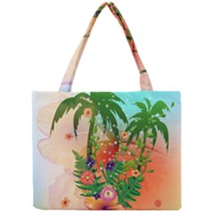 Tropical Design With Palm And Flowers Tiny Tote Bags