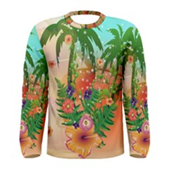 Tropical Design With Palm And Flowers Men s Long Sleeve T Shirts