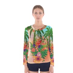 Tropical Design With Palm And Flowers Women s Long Sleeve T-shirts
