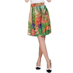 Tropical Design With Palm And Flowers A-Line Skirts