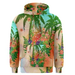 Tropical Design With Palm And Flowers Men s Pullover Hoodies