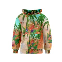 Tropical Design With Palm And Flowers Kid s Pullover Hoodies