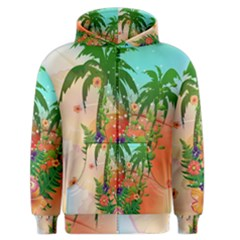 Tropical Design With Palm And Flowers Men s Zipper Hoodies