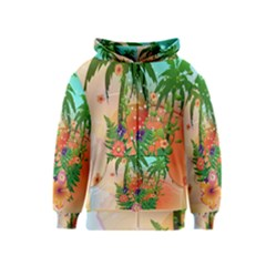 Tropical Design With Palm And Flowers Kids Zipper Hoodies