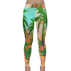 Tropical Design With Palm And Flowers Yoga Leggings