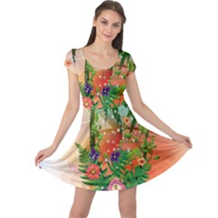 Tropical Design With Palm And Flowers Cap Sleeve Dresses
