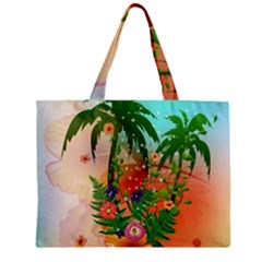 Tropical Design With Palm And Flowers Zipper Tiny Tote Bags