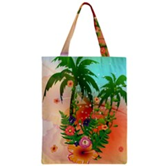 Tropical Design With Palm And Flowers Zipper Classic Tote Bags