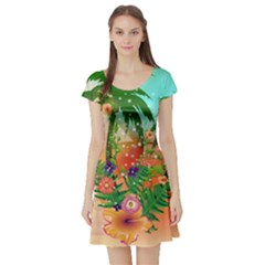 Tropical Design With Palm And Flowers Short Sleeve Skater Dresses
