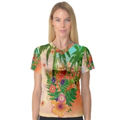 Tropical Design With Palm And Flowers Women s V-Neck Sport Mesh Tee
