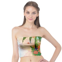 Tropical Design With Palm And Flowers Women s Tube Tops