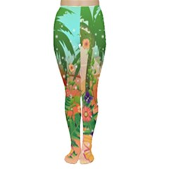 Tropical Design With Palm And Flowers Women s Tights