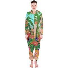 Tropical Design With Palm And Flowers Hooded Jumpsuit (ladies)