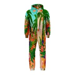 Tropical Design With Palm And Flowers Hooded Jumpsuit (Kids)